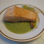 salmon con salsa verde - salmon in green sauce